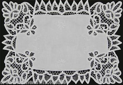 Battenburg Lace White Fabric Placemat 12x18 Or 14x20 Hand Embroidery