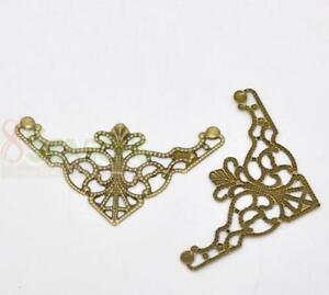 250-Bronze-Tone-Filigree-Triangle-Wraps-Connectors