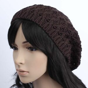 C10713-BEANIE-HAT-CAP-BERET-KNIT-CROCHET-WOMENS-BROWN