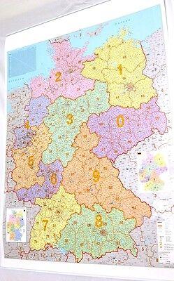 PLZ Deutschlandkarte mit Metallleiste Postleitzahlen große Landkarte Deutschland