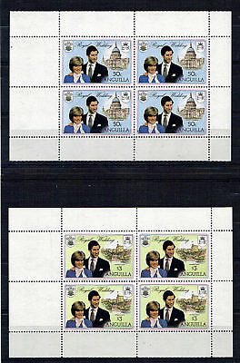 ANGUILLA 1981 ROYAL WEDDING PAIR OF PANES BOTH WITH DOUBLE BLACK PRINT