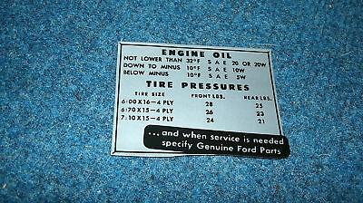1952 Ford Car Glove Box Tire Pressure Decal Sticker