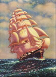 VINTAGE BEAUTIFUL OCEAN SAILING SHIP LITHO ART PRINT #3