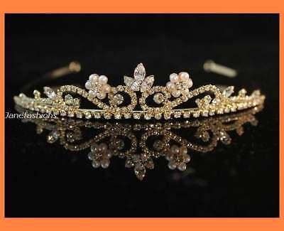 PEARL CLEAR AUSTRIAN RHINESTONE CRYSTAL TIARA HEADBAND BRIDAL WEDDING H255 -GOLD