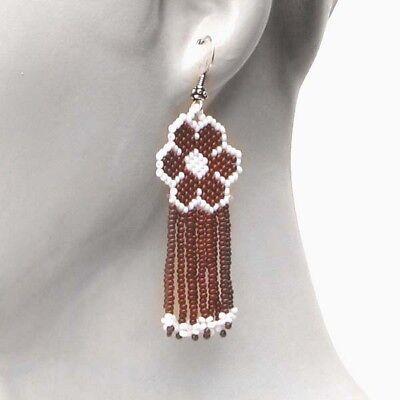 Brown White Beaded Flower Native American Inspired Earrings Handmade Jewelry