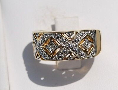 New 18K Sterling Silver Diamond  Accent Ring Size 7