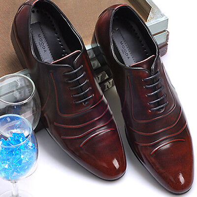 Mens Leather Stylish Dress Lace Up Wine Shoes 9
