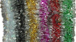2-24M-16cm-DIAMETER-LUXURY-LOOPED-TINSEL-GARLAND-CHRISTMAS-DECORATION