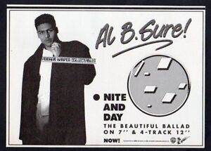 Al B. Sure! B Sure Nite And Day  1988 poster print A5 size bw