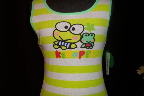 Ladies Sanrio Keroppi Green Frog Striped Tank Top Shirt Medium