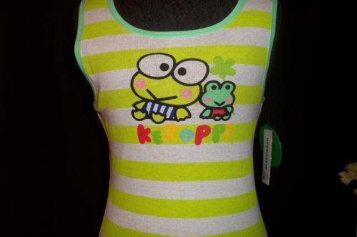 Ladies Sanrio Keroppi Green Frog Striped Tank Top Shirt Medium