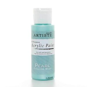 DoCrafts Artiste Frosted Mint Pearl Acrylic Craft Paint - 59ml