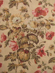 Panel-THREE-Antique-French-botanical-material-long-panel-fabric-LOVELY