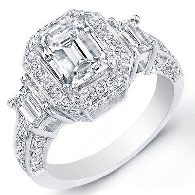 3.38 Ct. Emerald Cut w/ Round Cut Diamond Halo Engagement Ring GIA G,VS1 14K