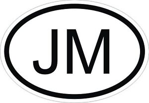 JM-JAMAICA-COUNTRY-CODE-OVAL-STICKER-bumper-decal-car