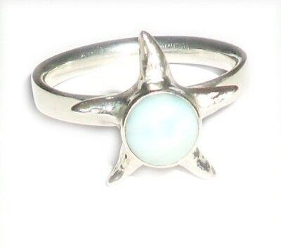 Sterling Silver Larimar Star Ring