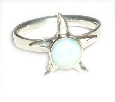 Sterling Silver Larimar Star Ring