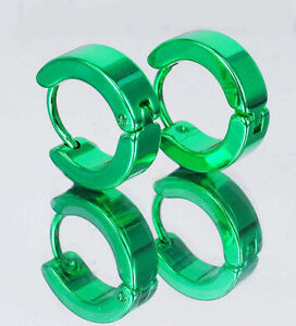 Stylish-Lawn-Green-Stainless-Steel-Chic-Huggies-Hoop-Earrings-Free-Shipping