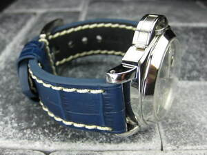 NEW-BIG-CROCO-22mm-LEATHER-STRAP-Band-White-Stitch-for-PANERAI-Blue-22-mm