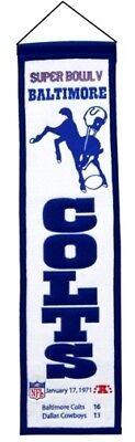 Baltimore Colts Super Bowl V (5) 32 Embroidered Wool Heritage Banner Nfl