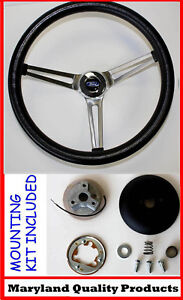 FORD Falcon Thunderbird Galaxie Torino GRANT Black Steering Wheel 15