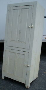 Antique-Old-White-2-Door-Country-Cupboard-Cabinet