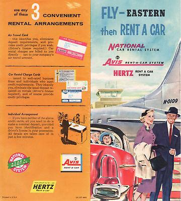 1552 Eastern Air Line Hertz Avis Car Rental 1960 Flier