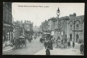 Beds-LUTON-George-St-Market-Place-Tram-Memorial-PPC