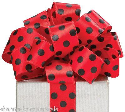 5yds Satin Red & Black Polka Dot Wired Edge 1-1/2 Ribbon Ladybug Style
