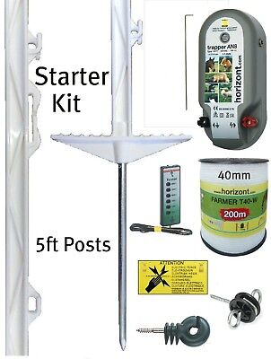 Electric Fencing Starter Kit 5ft Posts 40mm Fence Tape