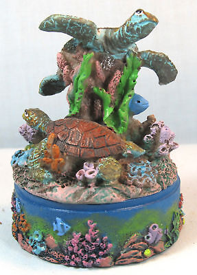 Sea Turtle On The Reef Trinket Box ,sealife,tropical