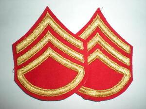 USMC-1950S-FEMALE-STAFF-SGT-RANK-YELLOW-ON-RED-RARE