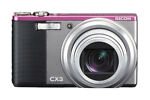 Ricoh CX3 10.0 MP Digital Camera - Light Gray/Pink