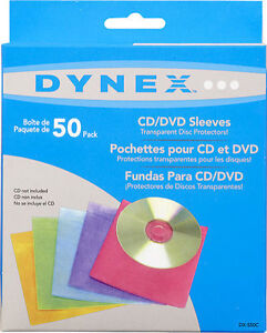 Dynex-50-Pack-Color-CD-DVD-Sleeves-Assorted