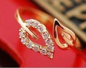 Cute-Fashion-Exquisite-Alloy-Rhinestone-2-Leaf-Ring