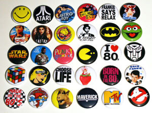 ICONIC 80s PARTY BADGES Badges Buttons Pinbacks Pins x 30 - Size 25mm 1
