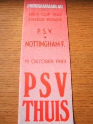 19/10/1983 PSV Eindhoven v Nottingham Forest [UEFA Cup]