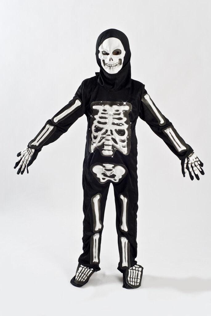 Boys Skeleton Halloween Costume Kids Fiber Optic Size 5-6, 7-9  Child Light up