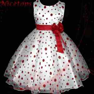 Reds-Polkadot-Marriage-Christmas-Party-Bridesmaid-Flowers-Girls-Dresses-AGE-3-8Y
