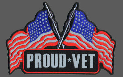 Reflective Proud Vet Embroidered 5 Inch Biker Patch