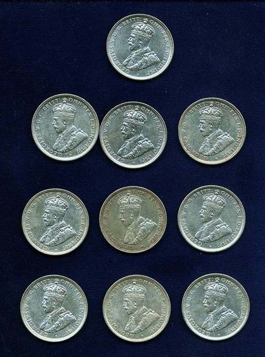 AUSTRALIA GEORGE V  1916-M 1 SHILLING SILVER COINS (10), VF TO ALMOST XF