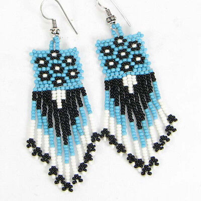 Blue White Black Seed Beaded Native American Style Earrings