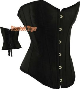 Steampunk Corset Top Bustier Lingerie Satin Style Red Black White Purple Pink