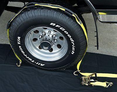 (16) Usa Over The Tire Car Hauler Truck Trailer Auto Tie Down Ratchet Straps 3wh