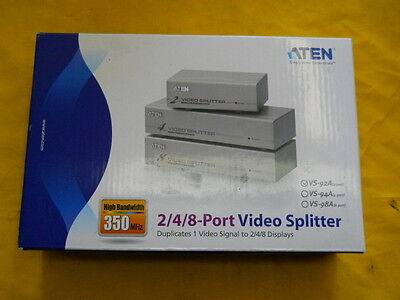2 Port Video Splitter Aten Vs-92a 350 Mhz Bandwidth Monitor Signal Booster