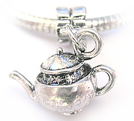 Antique Silver Pt Teapot Charm Bead & Bail Fit Bracelet