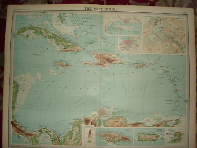 1920 LARGE MAP ~ WEST INDIES PANAMA CANAL etc 23