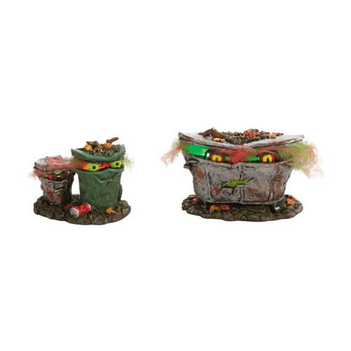 Department 56 Halloween Village Cross Product Spooky Trash Cans Gifts and Collectibles
