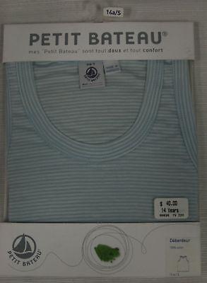 PETIT BATEAU Womens Blue Striped Tank 99836 Sz 14 Years S $40