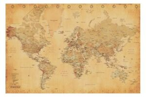 WORLD MAP Vintage Antique Poster Print Art 61x91.5cm